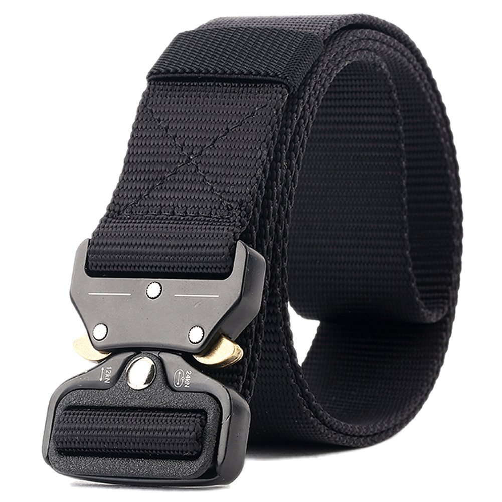 ACKKUN Men's Military Belts Nylon Tactical Solid Belt With Heavy-Duty Metal Buckle AC0002 Black
