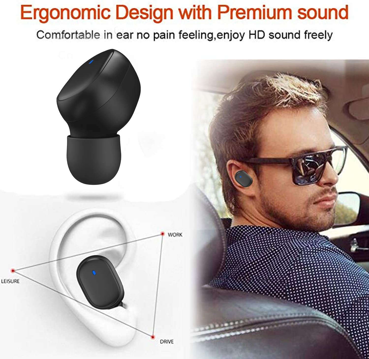 Wireless Built-in Mic Headphones Elegant Portable Charging Case Wireless Headphones for iPhone /& Android IPX4 Sweatproof Noise Cancelling Headset for Sports Earbuds Wireless Earbuds Bluetooth 5.0