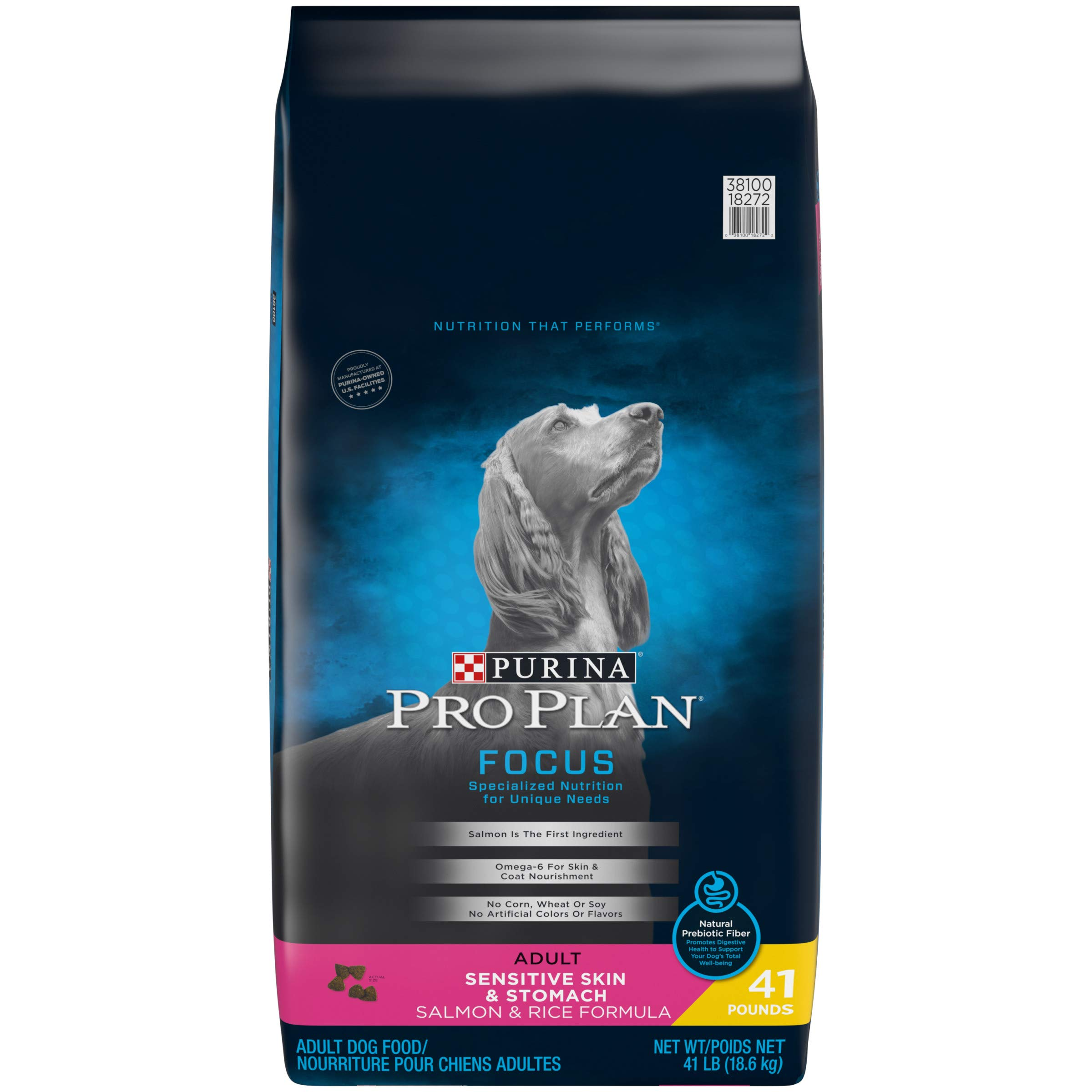 Purina Pro Plan Sensitive Stomach Dry Dog Food, FOCUS Sensitive Skin & Stomach Salmon & Rice Formula - 41 lb. Bag by Purina Pro Plan