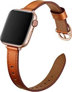 OUHENG Slim Bands Compatible with Apple Watch Band 40mm 38mm 44mm 42mm, Women Genuine Leather Thin Band Replacement Strap for iWatch SE Series 6 5 4 3 2 1 (Brown/Rose Gold, 40mm 38mm)