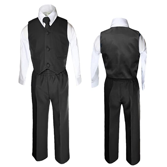 Amazon.com: unotux 4 pieza Formal niños chaleco negro ...