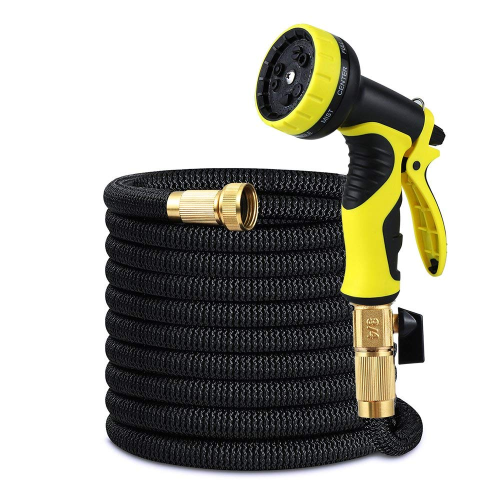 Ribool 50FT Expandable Garden Hose Pipes Strongest Double Latex Inner Tube Anti-Leaking Magic Garden Hosepipe with 9 Function Spray Gun+Solid Brass Connector Fittings Brass Valve Storage bag