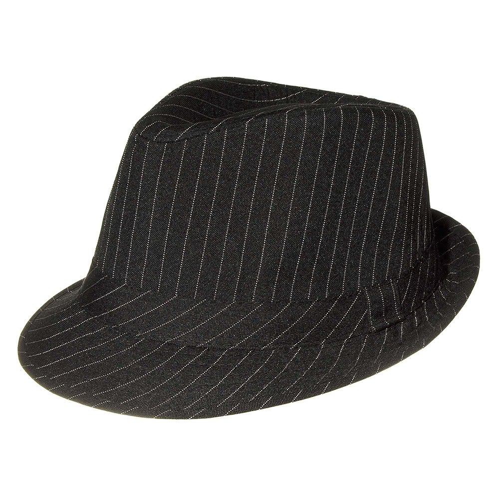 Blue Banana Pinstripe Trilby Hat (Black)
