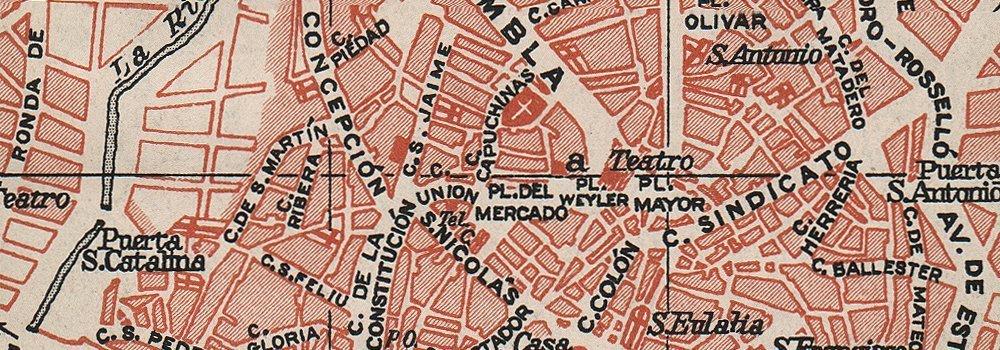 Amazon.com: PALMA DE MALLORCA. Vintage town city map plan ...