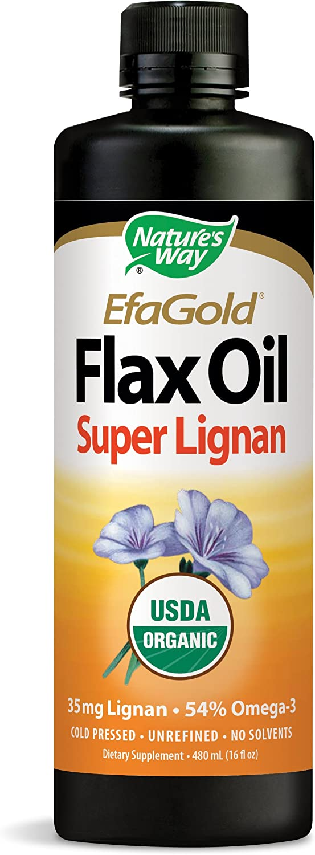 Nature's Way EfaGold Flax Oil Super Lignan USDA Organic 35 mg, 16 fl. oz.