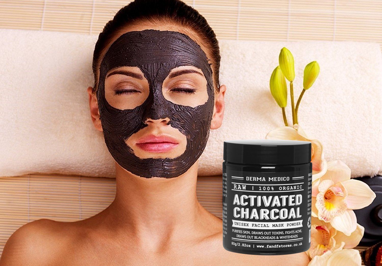 RAW Activated Charcoal Coconut Shell Powder Unisex Facial Mask by Derma Medico - Purifies Skin, Draws out Toxins, Fights Acne, Draws out Blackheads & Whiteheads - Simple DIY Detox & Pore Refining Mask, Easy DIY Body Scrub, 100% Organic, NO