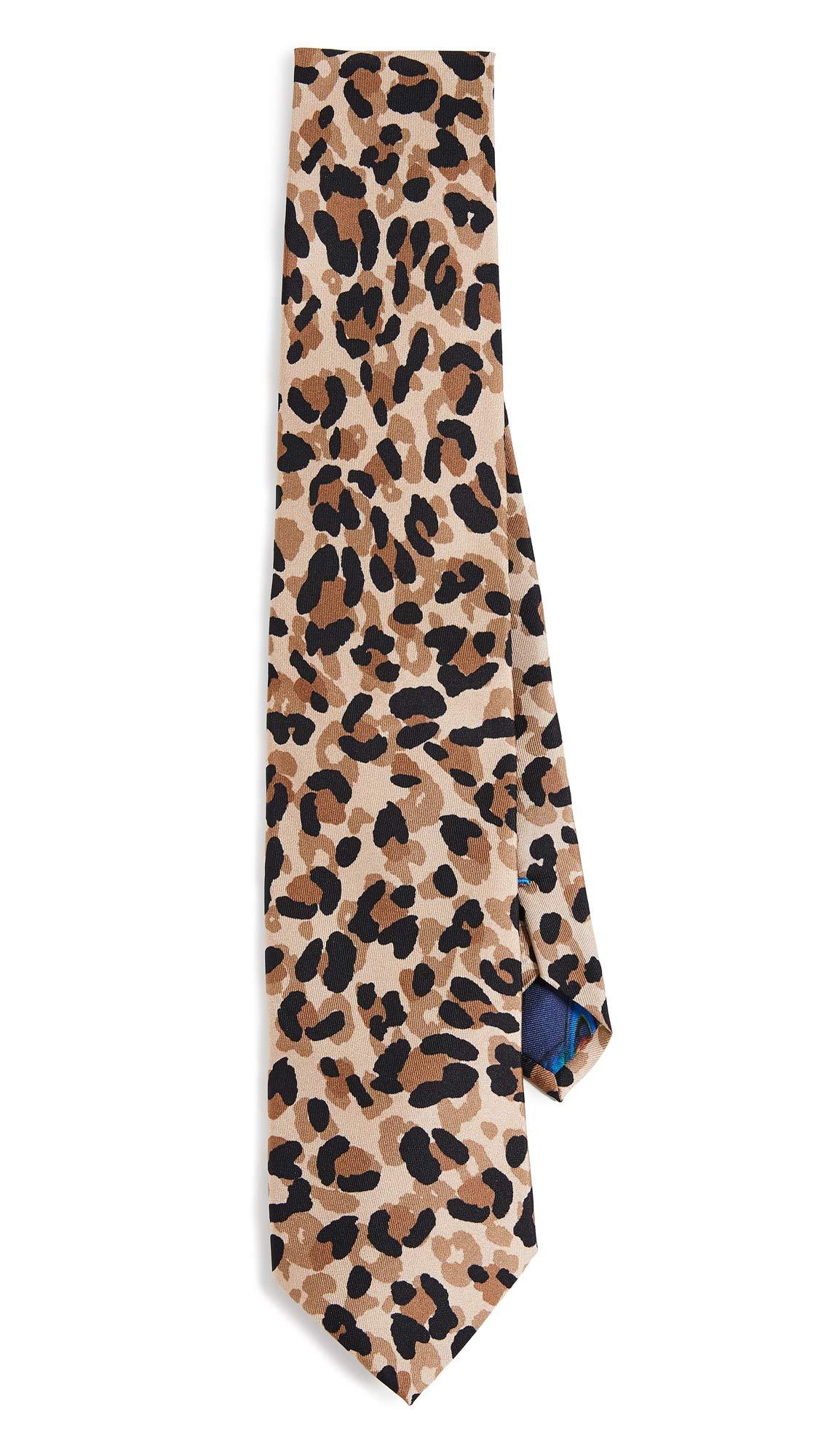 Paul Smith Men's Leopard Print Narrow Tie, Leopard, One Size