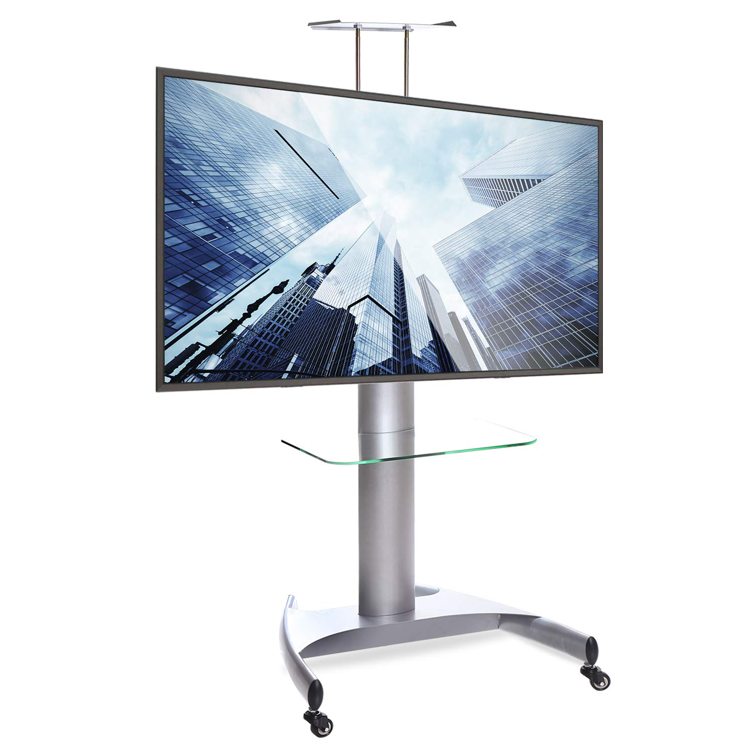 ABCCANOPY Silver TV Cart Rolling Trolley Mount TV Stands w/Wheels and Adjustable Shelf for 32-65 Inch LED LCD OLED Flat Screen, Plasma TVs TV & Monitor (TV Stand S T001-2)¡