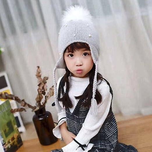 e53c1d4d3a7 Baby Boy Girls Hair Ball Earbud Hat Kids Child Crochet Winter Warm Knit  Hats Cap (