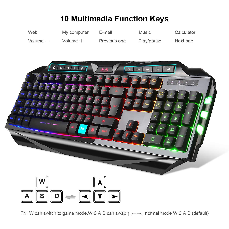 Juego de ratón para Teclado de Juegos GK710 Rainbow LED retroiluminado con Cable y ratón, Juego para Xbox One USB PS4: Amazon.es: Electrónica