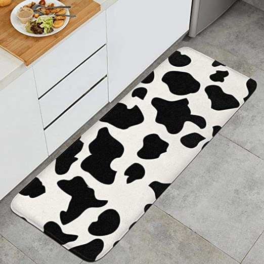 Amazon Com Sureruim Cow Print Cattle Skin Anti Fatigue Kitchen Mat Water Absorbing Commercial Grade Pads Non Slip Kitchen Rug Kitchen Dining
