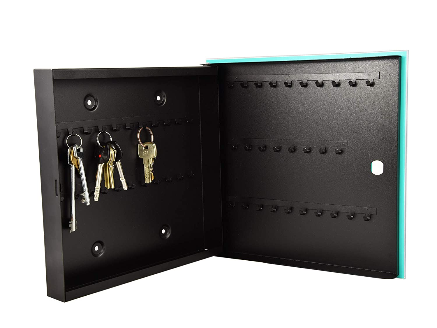 Concept Crystal 50 Key Lock Box Storage Holder with Decorative Front Glass Panel K04 Cannabis Art