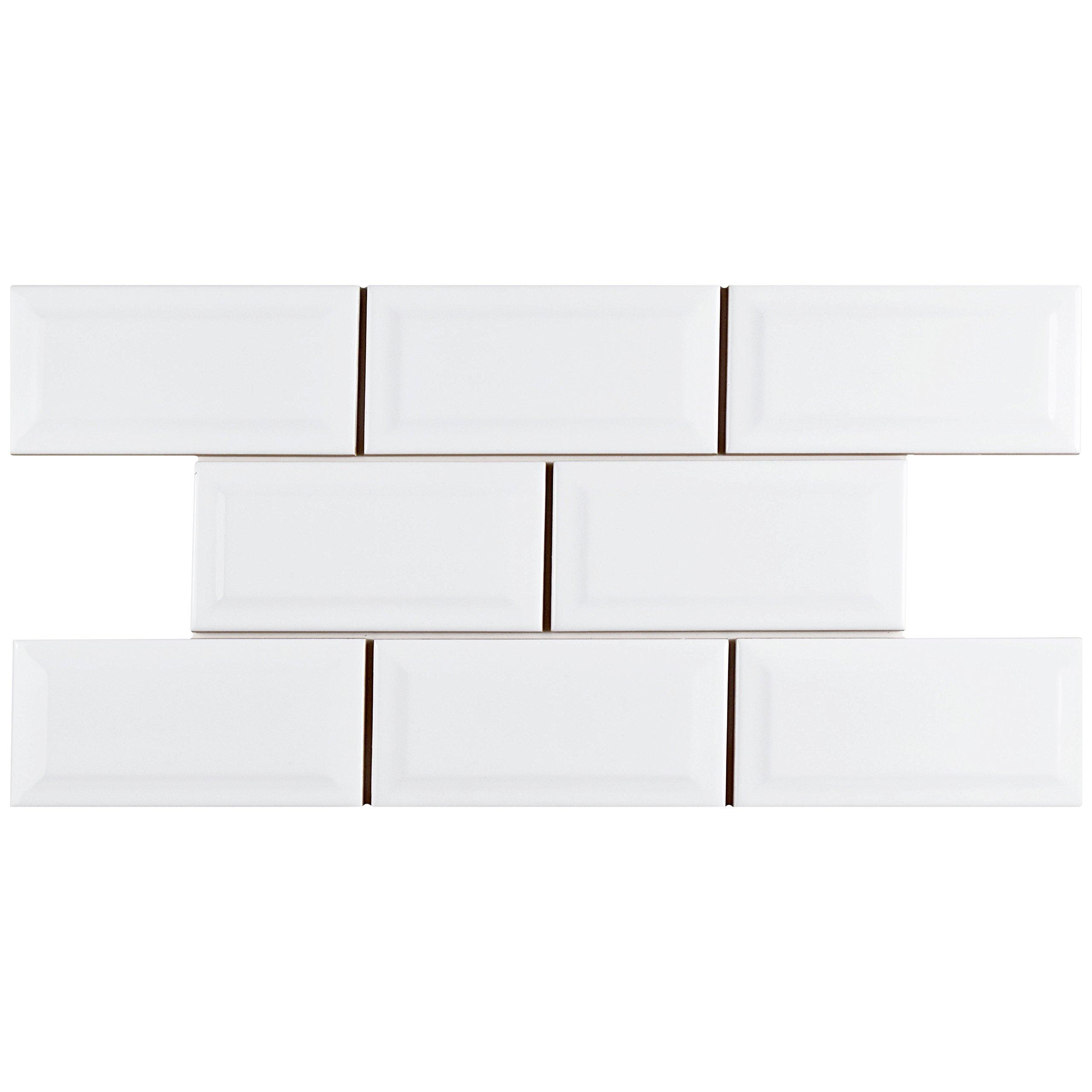 SomerTile WXR3PSBW Pente Subway Beveled Ceramic Wall Tile, 3'' x 6'', Glossy White