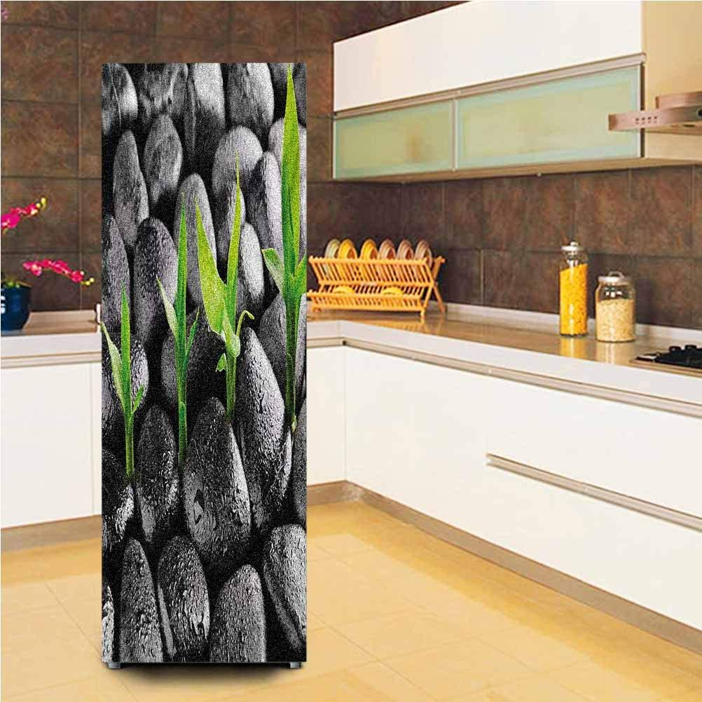 """3D Door Wall Fridge Door Stickers Mural,Basalt Stones with Bamboo Leaves Sticking Water Droplets Harmony of Nature Vinyl Door Cover Refrigerator Stickers,24x70"""",for Home Decor,Dark Taupe Lime Green"""