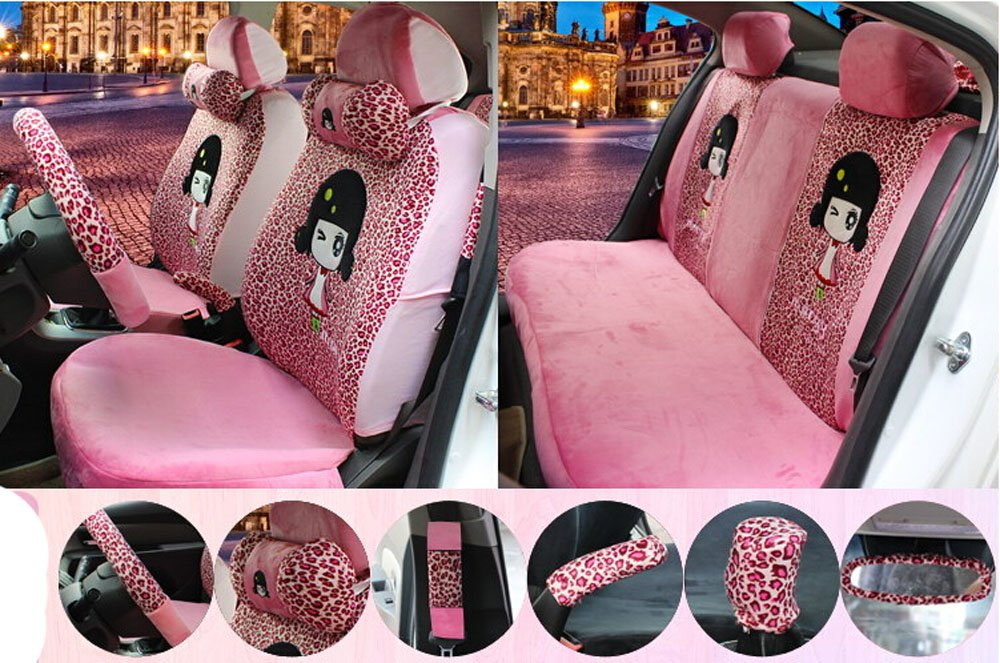 18pcs 1 sets popular plush Car Seat Cover Seating of Men&women Favorite Cartoon car seat cover Car Covers Steering wheel Neck pillow Four Seasons Leopard pink