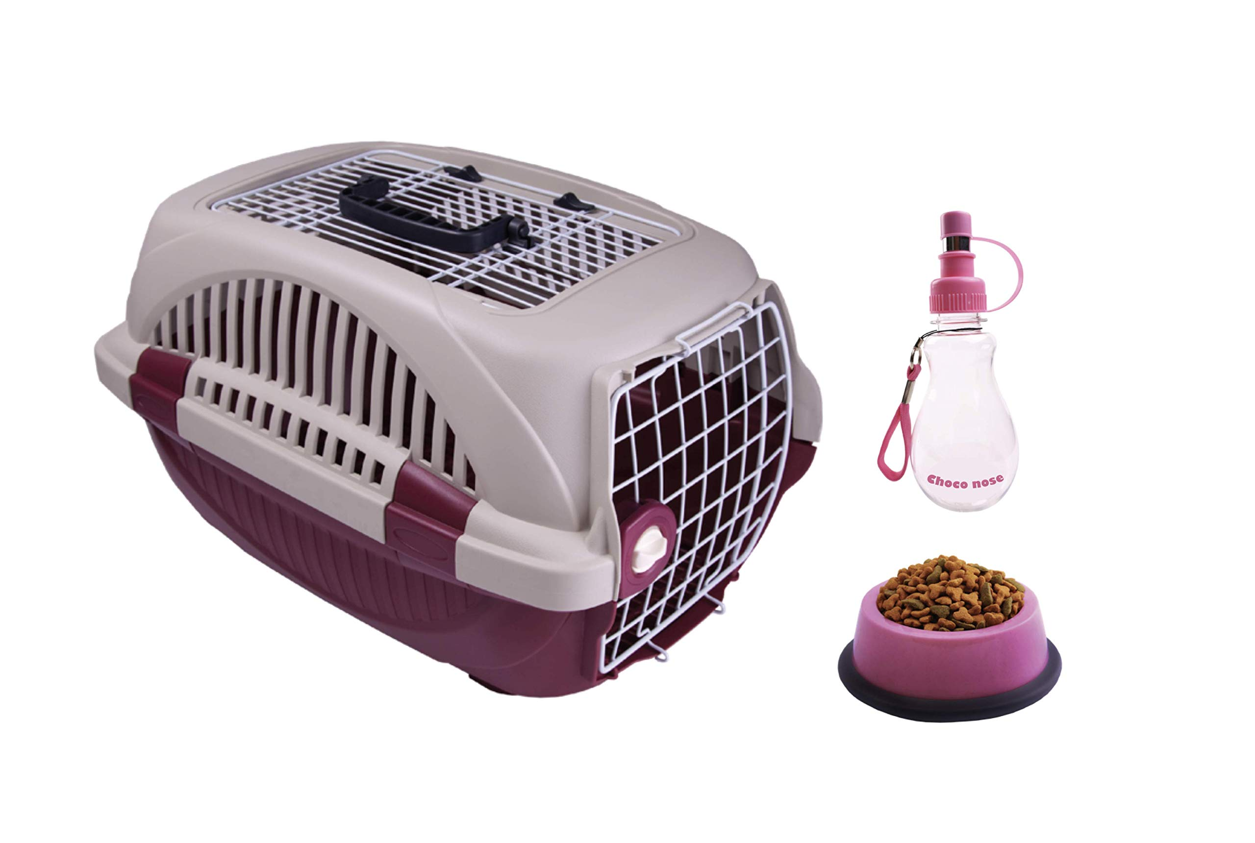 Choco Nose Pet Travel Set. Durable Top Load Pet Travel Kennel, Carrier, Crate for Pets Under 12 Lb, Small to Mini Sized Dog, Cat, Rabbit, Chinchilla. Portable Water Bottle & Pet Bowl (Burgundy) by Choco Nose