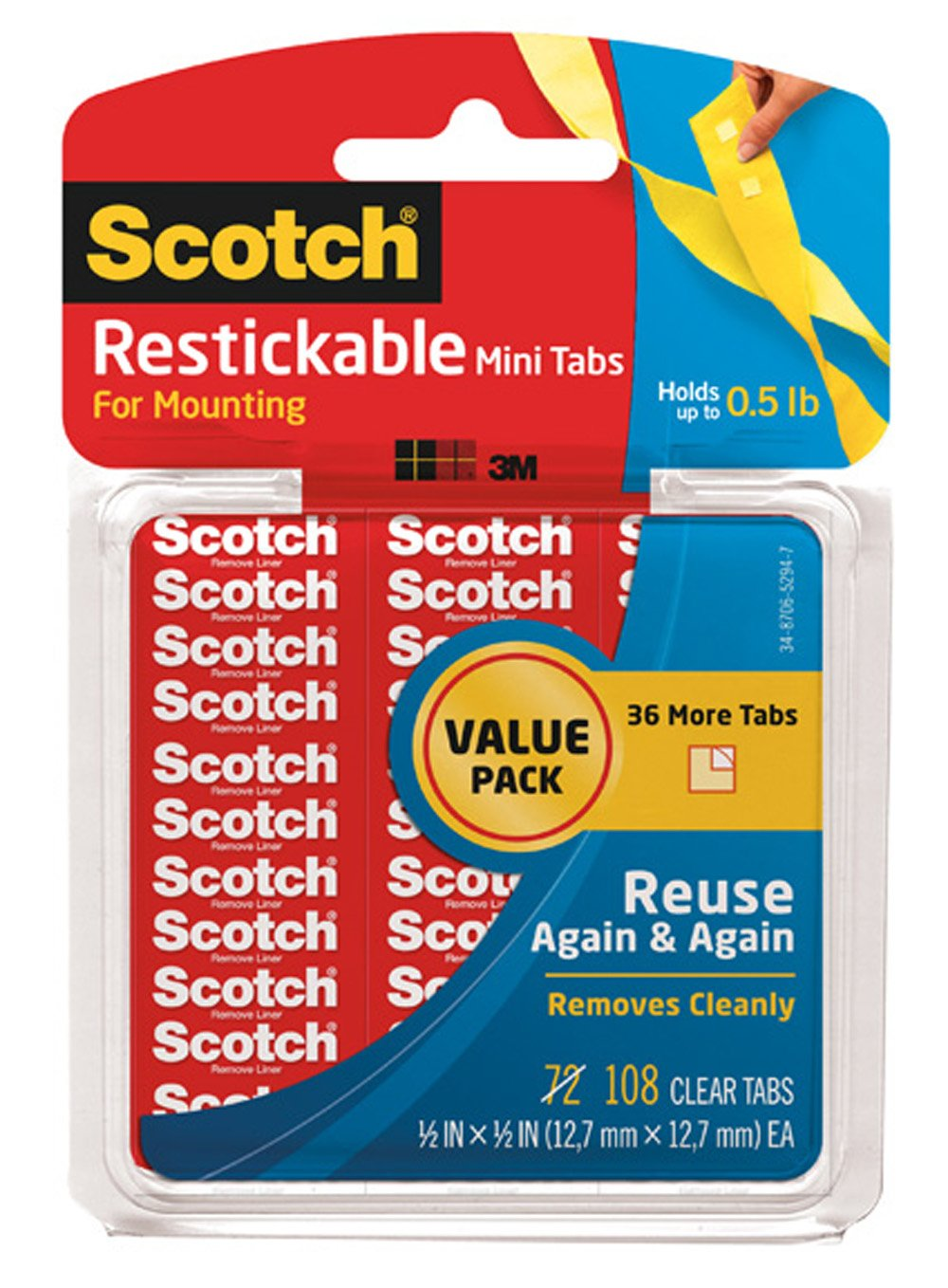 Scotch Restickable Tabs, 0.5 x 0.5 Inches (R103VPC)