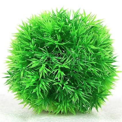 Bola de hierba artificial de plástico, verde, planta de agua, peces, acuario