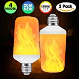 (2 Pack) Flame Bulb, LED Flame Effect Light Bulb with 4 Lighting Modes and Upside-Down Feature, E26/E27 Standard Base Bulb for Home/Hotel/Bar/Restaurant Decoration