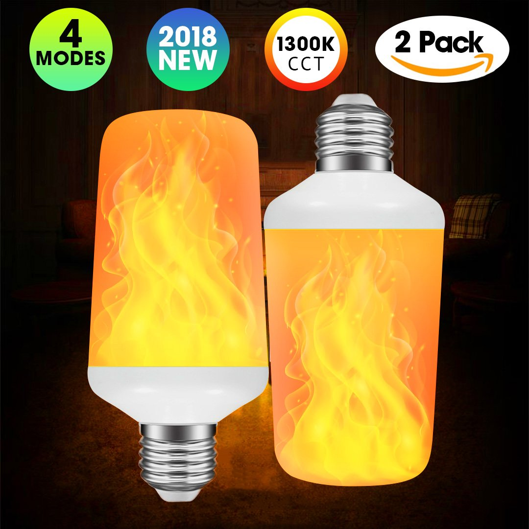 [2 Pack] Flame Bulb, LED Flame Effect Light Bulb, Flickering Effect Fire Light Bulbs with 4 Lighting Modes - Decorative Lights for Indoor/Outdoor/Holiday/Home/Party (7W B22 Base) Modeokker Flame Light-B22