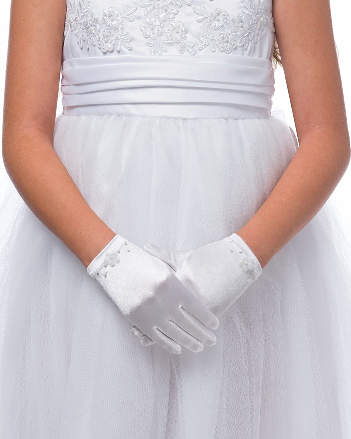 Ladies Womens Girls Satin Short Gloves Gorgeous Style Fancy Night Party Dress »