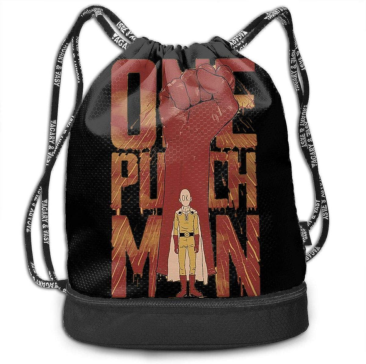 Lushuqing One Punch Man Drawstring Backpack Foldable Gym Tote Dance Bag for Swimming Shopping Sports Women Men Boys Girls