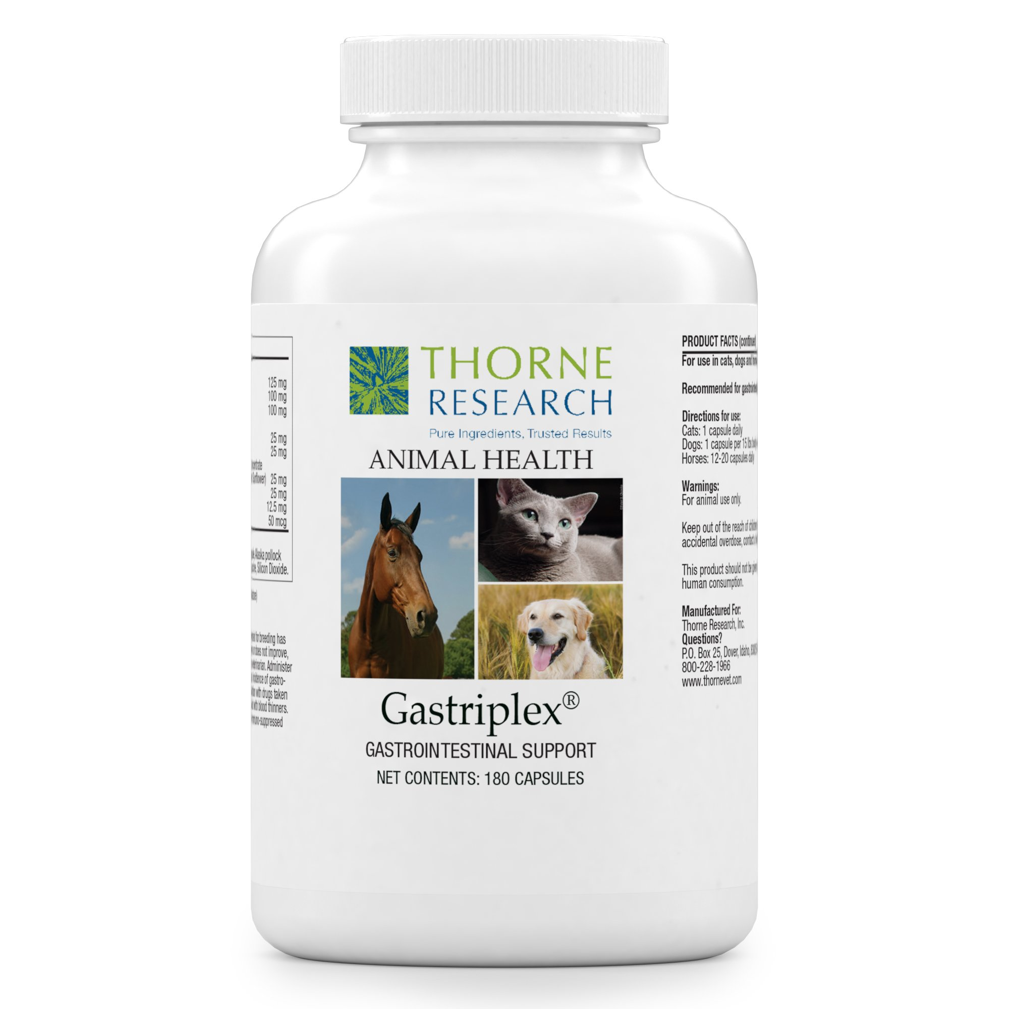 Thorne Research Veterinary - Gastriplex - Gastrointestinal Support for Small Animals & Horses - 180 Capsules
