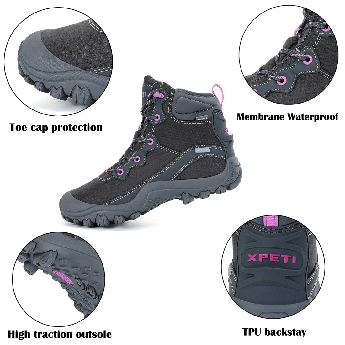 XPETI Women's Mid Waterproof Hiking Outdoor Boot (6 B(M) US, Gray) by XPETI (Image #6)