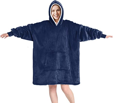 Details about  /Oversized Hoodie Wearable Blanket  Lining Plush Sweatshirt Warm Pullover