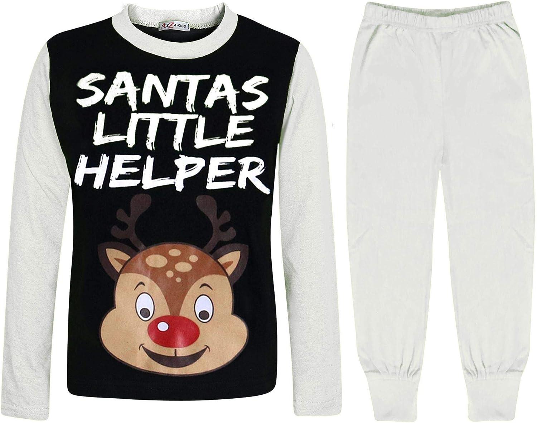 A2Z 4 Kids Kinder M/ädchen Jungen Pyjamas Santas Little Helper Reindeer Aufdruck Stilvoll Kontrast /Ärmel Schlafanzug Xmas Set Alter 2 3 4 5 6 7 8 9 10 11 12 13 Jahre