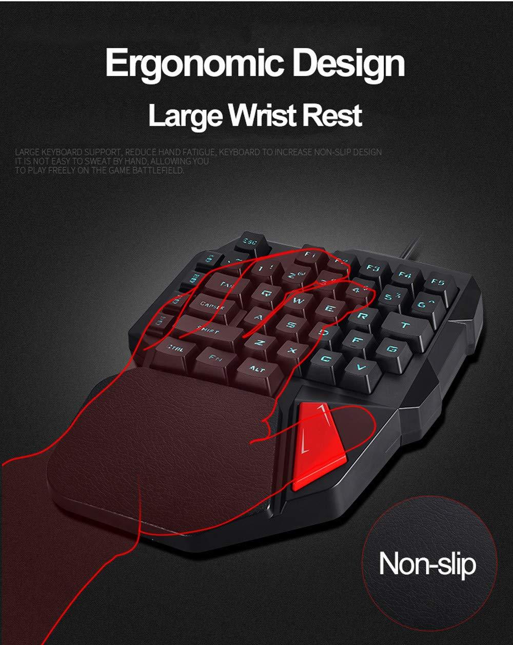 Hisoul One-Handed Gaming Keyboard, K108 Wired 38 Keys LED Backlit USB Ergonomic Gaming Keyboard for PUBG CNF and LOL Gamer (Black) by Hisoul (Image #6)