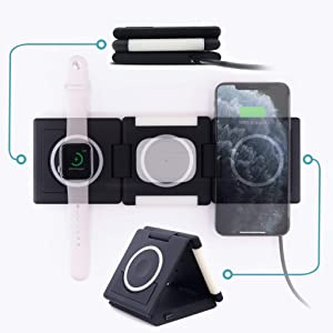 Unravel 3 in 1 Wireless Charger (Apple Watch Compatible) 10W for iPhone 11/11 Pro/11 Pro Max/XS/Xs Max/XR/X/8/8 Plus/SE/Samsung Galaxy/AirPods (Glow)