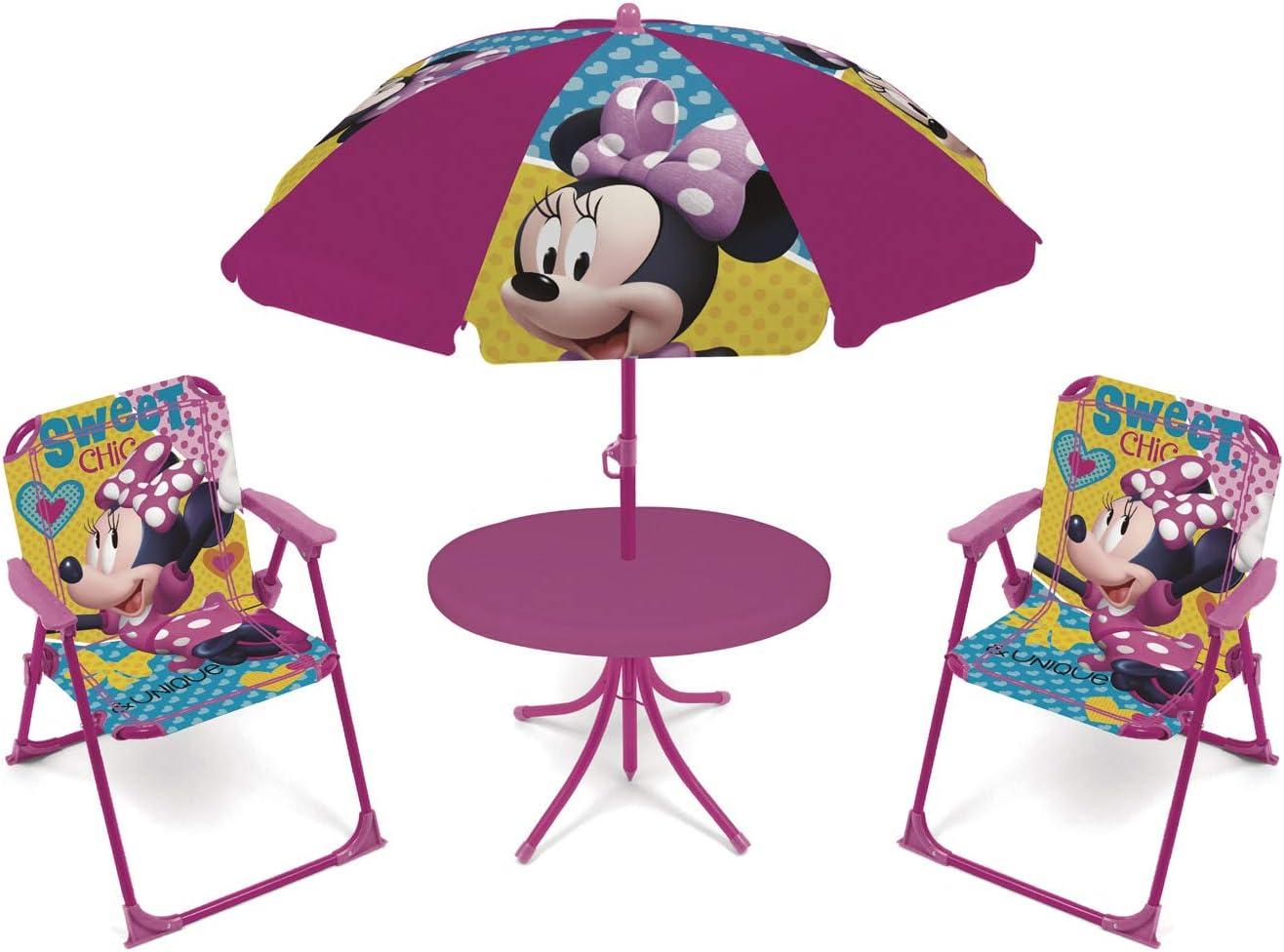 ARDITEX WD12602 Set de Mesa (50x50x48cm), 2 Sillas (38x32x53cm) y Sombrilla (diámetro 110cm) de Disney-Minnie