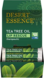 product image for Desert Essence Lip Rescue Therapeutic with Tea Tree Oil - 0.15 Oz - Pack of 3 - Antiseptic Balm - for Cracked Lips, Cold Sores - for Softer, Smoother Lips - Unscented - Vitamin E - Aloe Vera