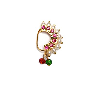 Buy Hayagi Non Piercing Copper Maharashtrian Nose Ring For Women