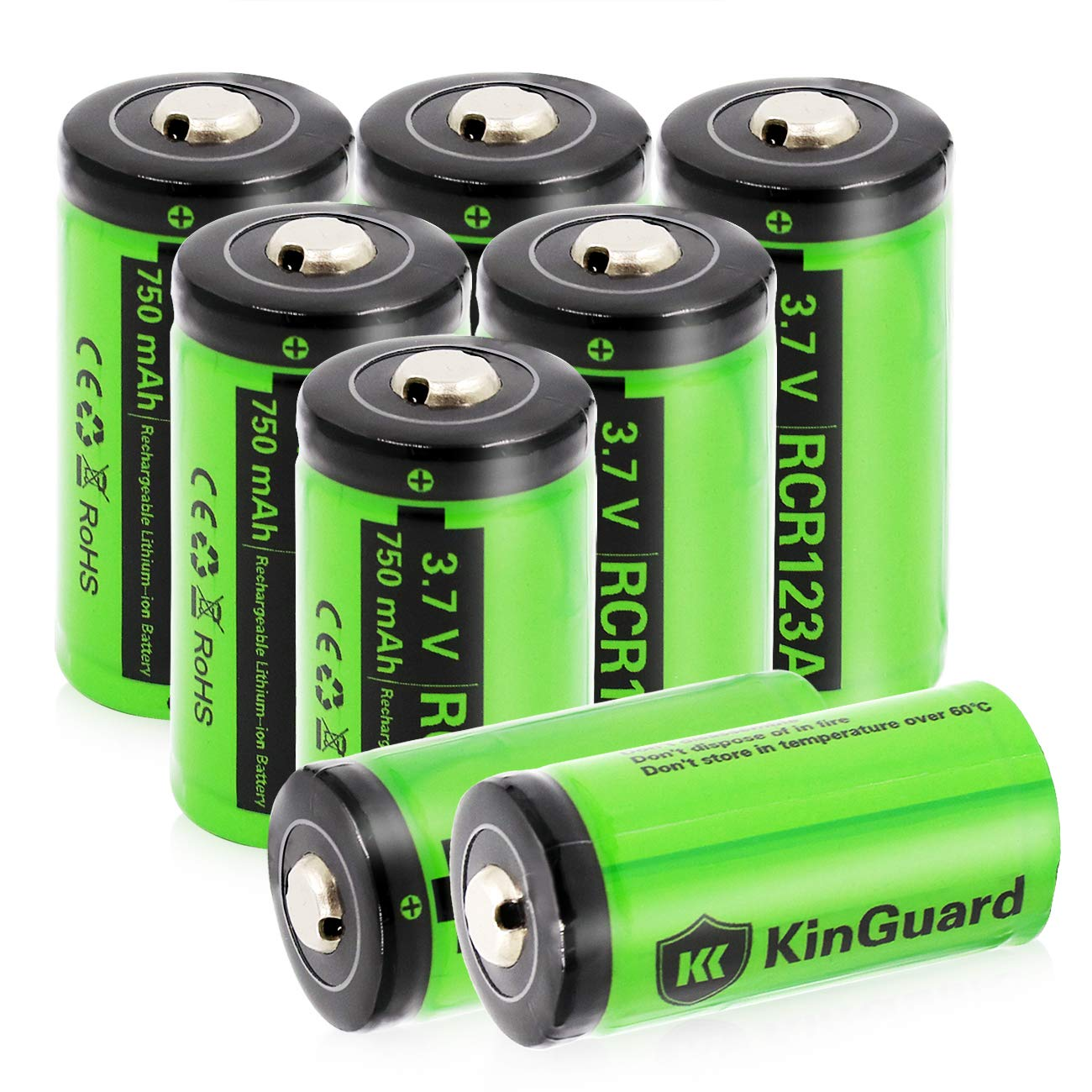 RCR123A Rechargeable Batteries KinGuard