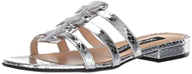 af5d1681299 Amazon.com | Sergio Rossi Women's SR Demetra Flat Sandal, Argento, 6 ...