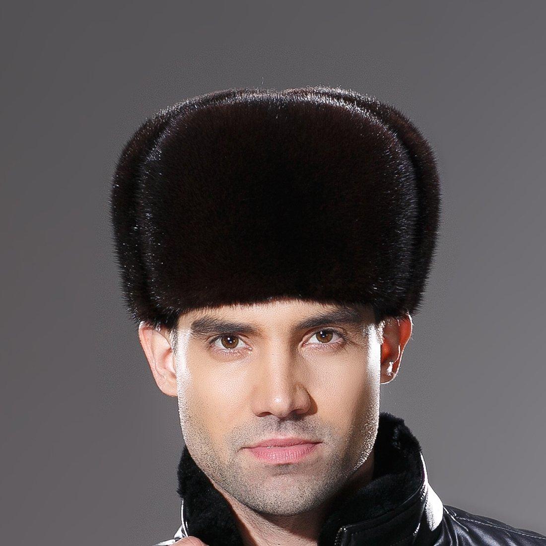URSFUR Russian Fur Ushanka Hat Mens Winter Real Min Fur Trapper Cap Brown L by URSFUR (Image #3)