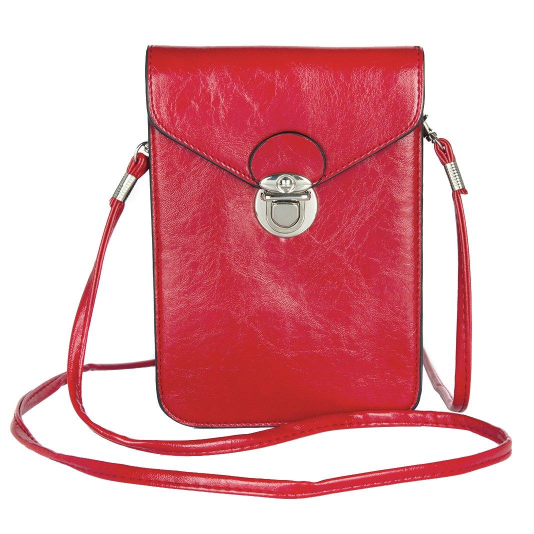 Leather Shoulder Messenger Bag, Rosa Schleife Practical Ladies Men Double Layer Leather Cross Body Shoulder Bag Purse Pocket Belt Pouch Bag Holster Handbag for Work, Travel and School(less than 6.3'')