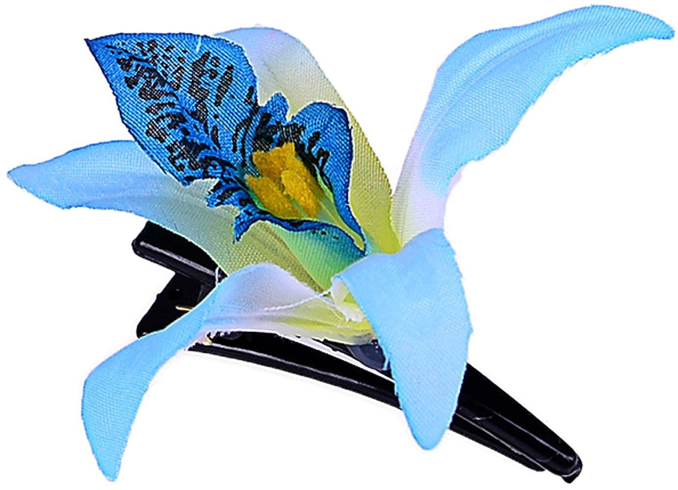 TIKI Flower 50s ORCHIDEEN Vintage Blüten Haarspange Rockabilly Hellblau