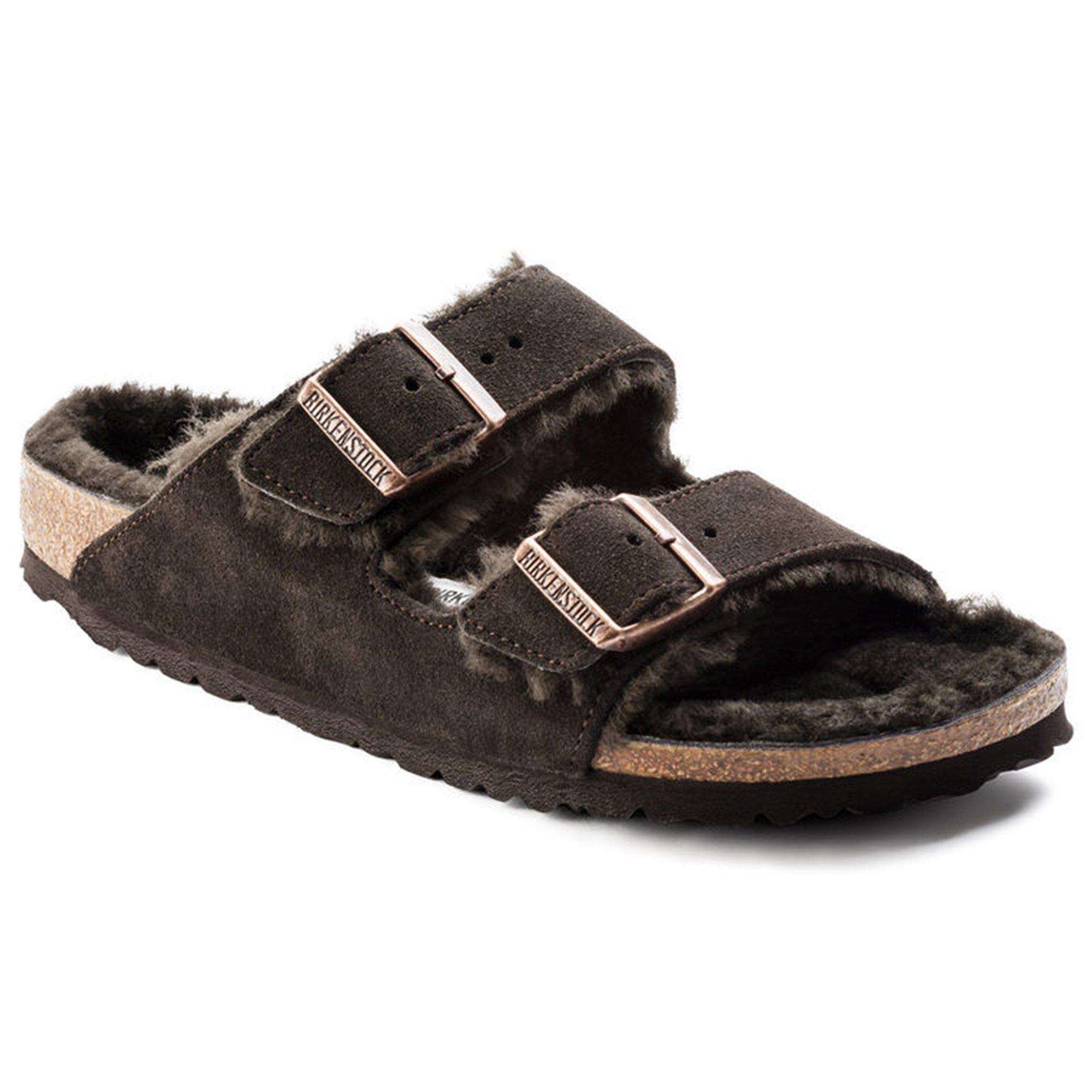 Birkenstock Womens Arizona Shearling Slide Sandal Mocha/Mocha Size 39 N EU (8-8.5 N US Women)