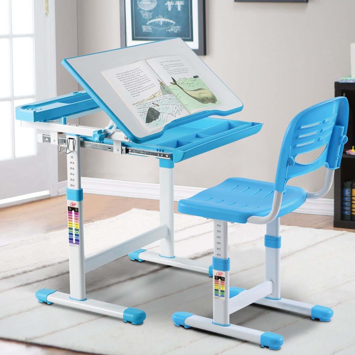 BABY JOY Kids Desk and Chair Set, 0-40 Degree Table Top Adjustable Tilt for Painting, Spacious Pull Out Drawer, Height Adjustable, School Study Workstation for Children (Blue) by BABY JOY