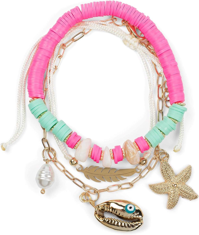 styleBREAKER Ladies Bracelet Set of 3 con Cuentas de Concha y Colgantes de Plumas, Pulsera, Pulsera de Playa, joyería 05040182