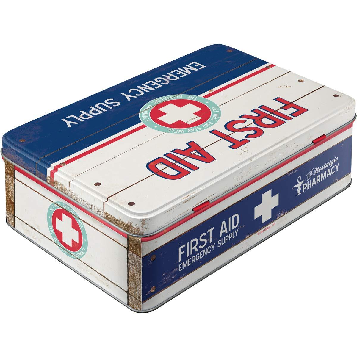 Dise/ño de Primeros Auxilios para Tarro de Caja met/álica de Primeros Auxilios para Caja de Metal Plana
