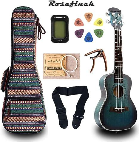 Ukelele de caoba de 23 pulgadas, afinador de guitarra hawaiana con 6 púas de regalo para guitarra eléctrica UKE Music Concert UK2329B: Amazon.es: Instrumentos musicales