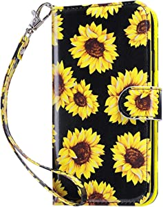ULAK iPod Touch 7 Wallet Case, iPod Touch 6 Case with Card Holder, Premium PU Leather Magnetic Closure Protective Folio Cover for iPod Touch 7th/6th/5th Generation, Sunflower