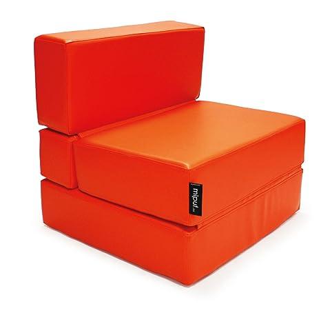 MiPuf - Sofá Puf Cama Plegable - 190x80x20 cm - Tejido Polipiel Alta Resistencia - Doble Costura - Interior Foam Alta Densidad - Naranja - 4 años de ...