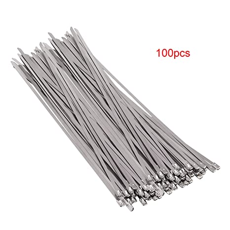 100 pcs Bridas para Cables Ataduras Acero Inoxidable 304 ...