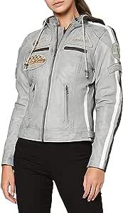 Urban GoCo Chaqueta Moto Mujer de Cuero Leather '58 LADIES' Cazadora Moto de Piel de Cordero, Armadura Removible para Espalda, Hombros y Codos Aprobada por la CE, Gris, 4XL (UR-166)