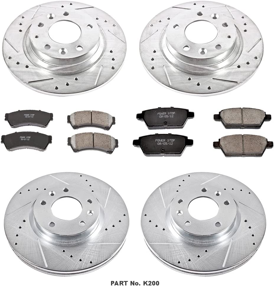 Power Stop K2270 Rear Ceramic Brake Pad and Cross Drilled//Slotted Combo Rotor One-Click Brake Kit